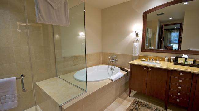 Well-appointed bath with separate shower and tub