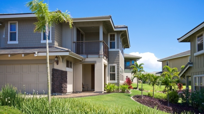 Well manicured landscaping showcases 5 different floor plans of Kanani Wailea