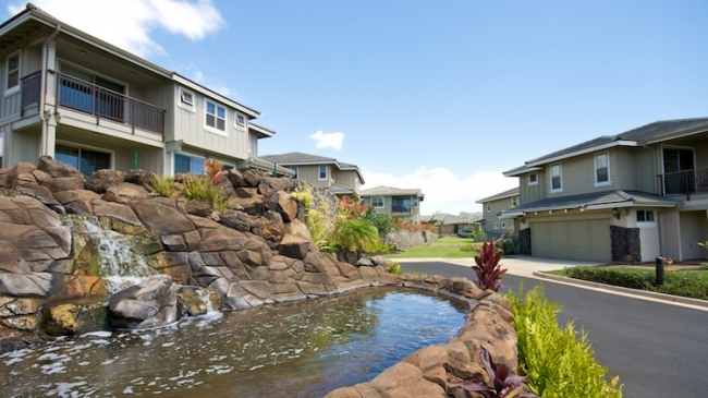 Waterfall features in the Kanani Wailea neighborhood