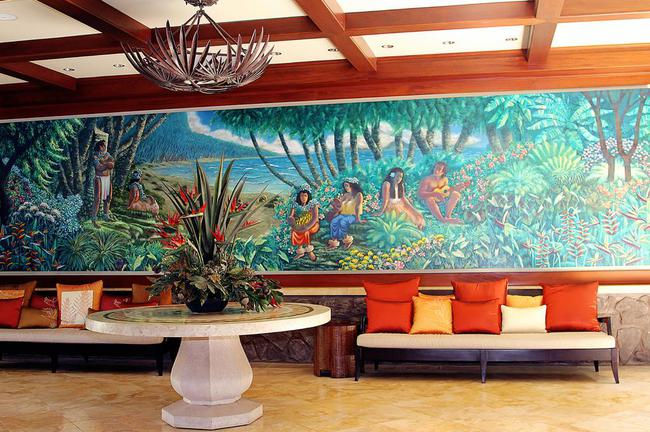 Welcoming mural in front lobby area