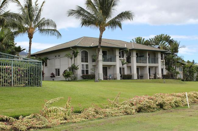 The Wailea Fairway Villas buildings are well-cared for and mature landscape is present