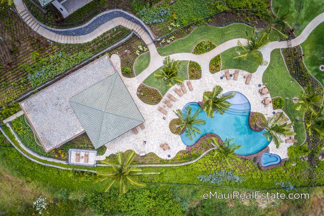 Aerial view of the newly completed pool at Keala O Wailea